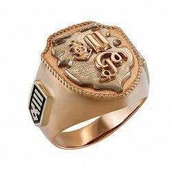 Дизайнерский перстень-печатка Семья с геральдикой, в комбинированном золоте 000095774