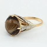 Золотое кольцо с раухтопазом и фианитами Деметрия