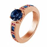 Золотое кольцо Виктория с сапфирами и рубинами