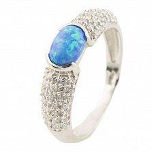 Серебряное кольцо Радия с голубым опалом и фианитами