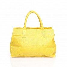 Кожаная сумка на каждый день Genuine Leather 8907 желтого цвета на молнии, с декоративной кистью