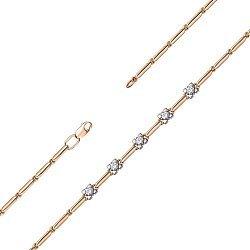 Золотой браслет в комбинированном цвете с цирконием Swarovski 000147909