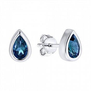 Серебряные серьги-пуссеты с лондон топазами 000133655