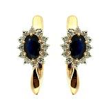 Золотые серьги с бриллиантами и сапфирами Малинки