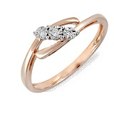 Кольцо Эмма из красного золота с бриллиантами
