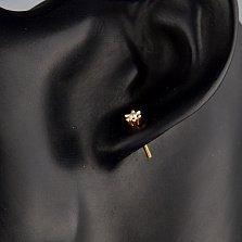 Золотые серьги-пуссеты в красном золоте с бриллиантами Эстель
