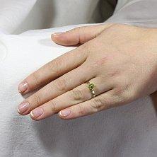 Золотое кольцо Паула с хризолитом и фианитами