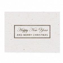 Мини-открытка из итальянского картона Happy New Year с золотым тиснением в черном конверте