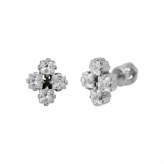 Серебряные серьги-пуссеты Тара с фианитами 000081807