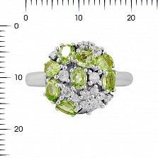 Серебряное кольцо Августина с хризолитом и фианитами