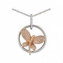 Кулон из золота с бриллиантами Бабочка