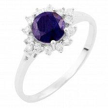 Серебряное кольцо Людвика с сапфиром и фианитами