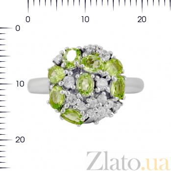 Серебряное кольцо Августина с хризолитом и фианитами 000081544
