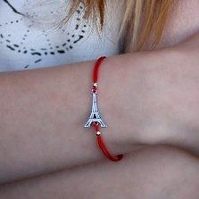Шёлковый браслет Эйфелева башня с серебряной вставкой
