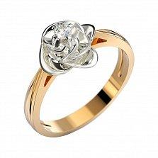 Золотое кольцо Вербена в комбинированном цвете с бриллиантом