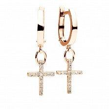 Золотые серьги-крестики Croix с бриллиантами
