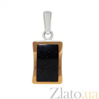 Серебряный кулон с золотыми вставками и авантюрином Астра BGS--254/1п