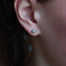 Серебряные серьги с бриллиантами и зелёными гранатами Селин