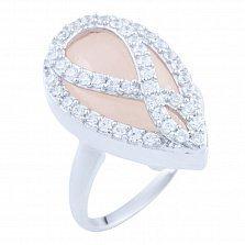 Серебряное кольцо Жасмин с розовым кварцем и фианитами