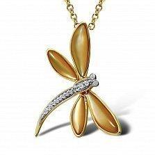 Кулон из желтого золота Стрекоза с бриллиантами и перламутром