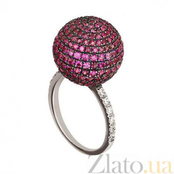 Золотое кольцо Сфера с розовыми и белыми фианитами VLT--Т1134