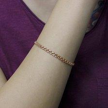 Серебряный позолоченный браслет Бисмарк с алмазной гранью, 4 мм