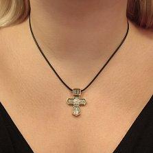Серебряный крестик Святой символ с позолотой