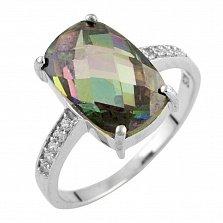 Серебряное кольцо Мирджам с топазом мистик и фианитами
