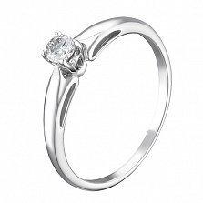 Золотое кольцо Эдма в белом цвете с бриллиантом