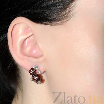 Золотые серьги с бриллиантами Гранатовое соцветие 2С-2715