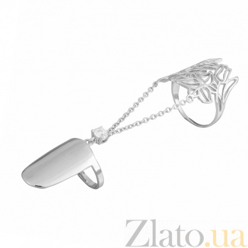 Серебряное кольцо-ноготь с фианитом Полет фантазии 000028089