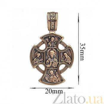 Золотой крест с чернением Святое Благословение ONX--п01827