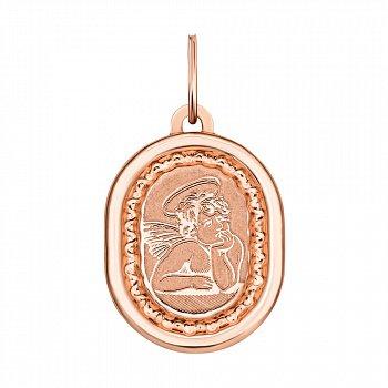 Ладанка из красного золота Ангел-хранитель с насечками 000134349