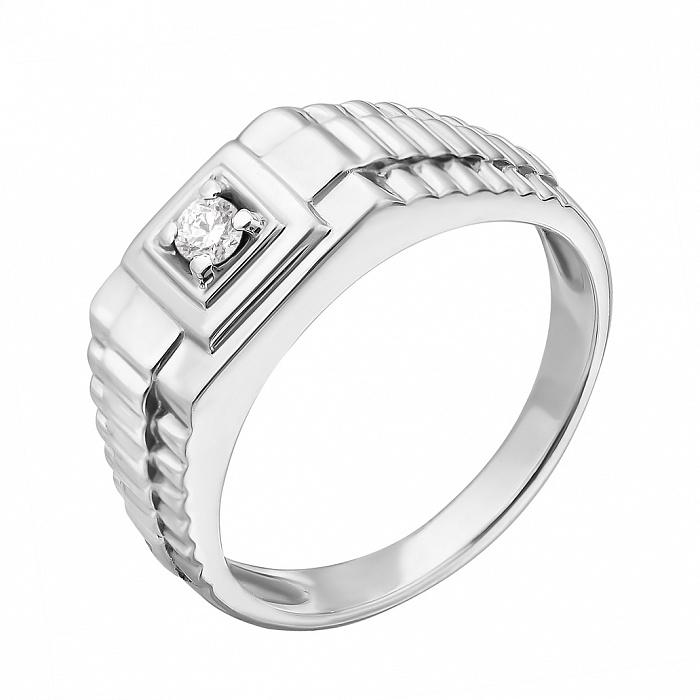 Золотой перстень в белом цвете с бриллиантом Сила 000021516