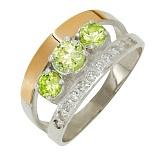 Серебряное кольцо Ванесса с золотой вставкой и хризолитом