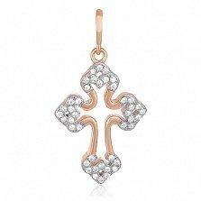 Серебряный крестик с кристаллами циркония Ажур