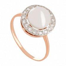 Золотое кольцо с жемчугом и фианитами Аэлита