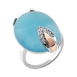 Серебряное кольцо с золотой накладкой, голубым улекситом и фианитами 000087690