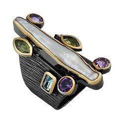 Серебряное кольцо в позолоте с аметистом, хризолитом, топазом и мазерперлом Друиды 000033338