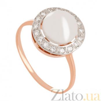 Золотое кольцо с жемчугом и фианитами Аэлита VLN--212-907