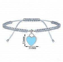 Детский серый браслет Сердце, плетеный с cеребряной подвеской, фианитом и голубой эмалью, 10х20см