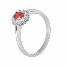 Серебряное кольцо с красным фианитом Милиани