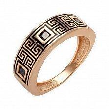 Кольцо в красном золоте Клеопатра с черными эмалью и фианитами