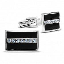 Серебряные запонки Джокер с черной эмалью и дорожками белых фианитов