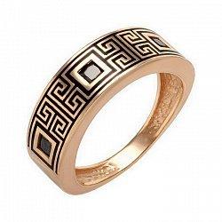 Кольцо в красном золоте с черными эмалью и фианитами 000046680
