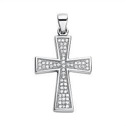 Серебряный декоративный крестик с дорожками фианитов 000118012