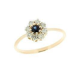 Золотое кольцо с сапфиром и бриллиантами 000021145