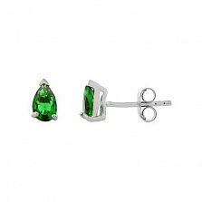 Серебряные серьги пусеты с зеленым цирконом