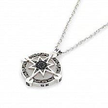 Серебряное колье Роза ветров Zancan с черной шпинелью