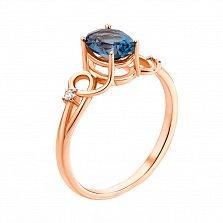 Золотое кольцо Аврора в красном цвете с топазом лондон и фианитами